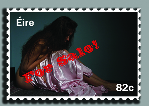 Girl sitting on a bed with her dressing gown pulled up around her. Image is designed as a stamp with For Sale wrote across the girl.