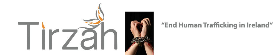 Tirzah logo with image of hands in chains and text