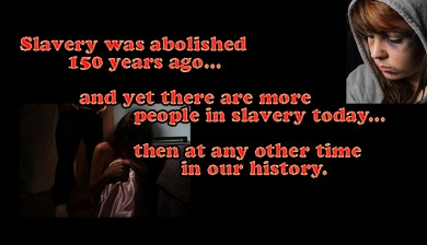 Two images of human trafficking and some text on slavery statistics.
